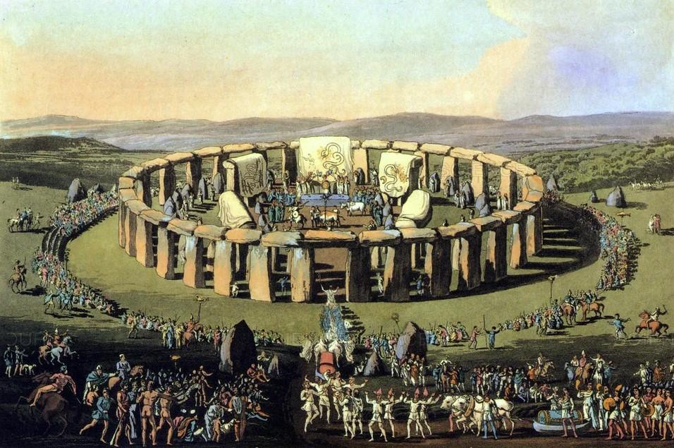 On voit des Druides à Stonehenge dans ce tableau mettant en scène le cerlce de pierres de Stonehenge et un rassemblement de celtes venant y faire leur cérémonie. C'est une erreur historique, un fantasme dans lequel se sont engouffrés les celto-druides franc_maçons depuis le 18e siècle et qui perdurent aujourdhui.