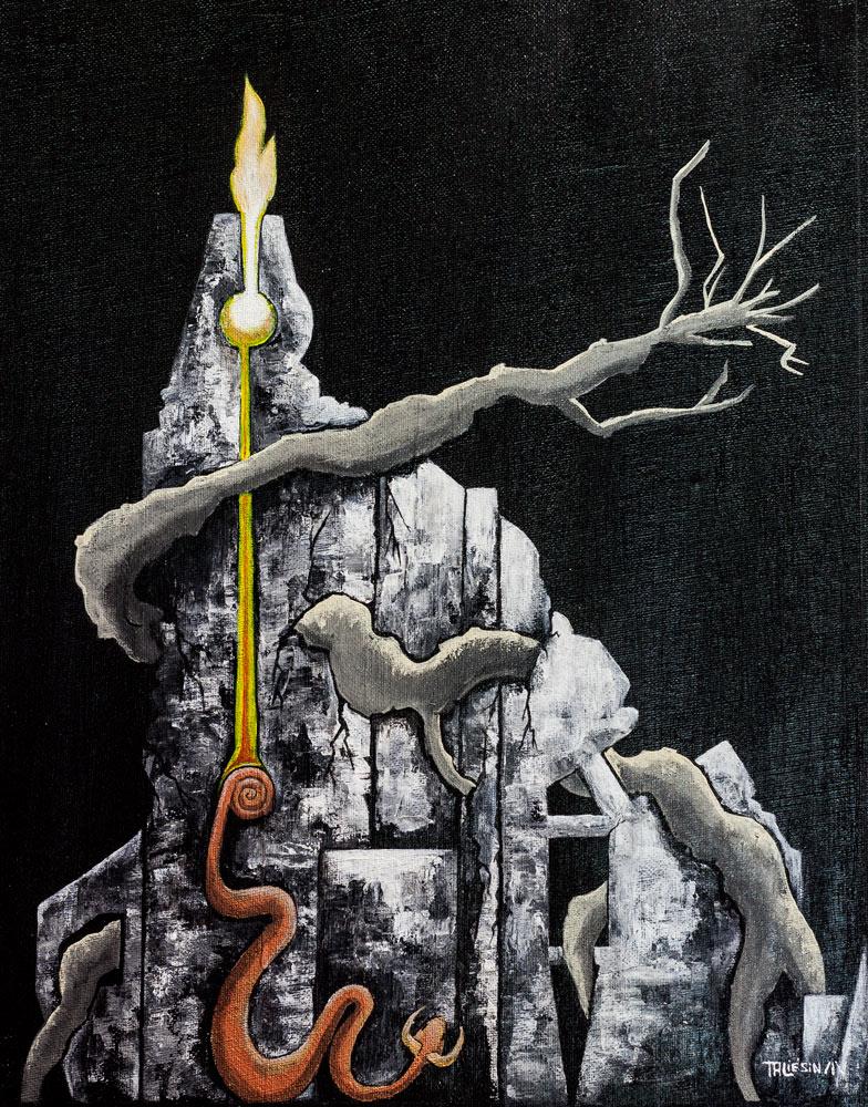 Le passéisme des celto-druides est ruine comme cette peinture d'un mur en ruine attaqué par des racines.